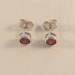 18K White Gold Filled Red Zircon Stud Earrings